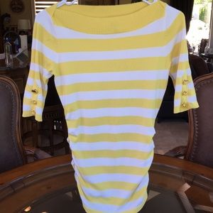 Cache yellow striped sweater cute 4 spring summer